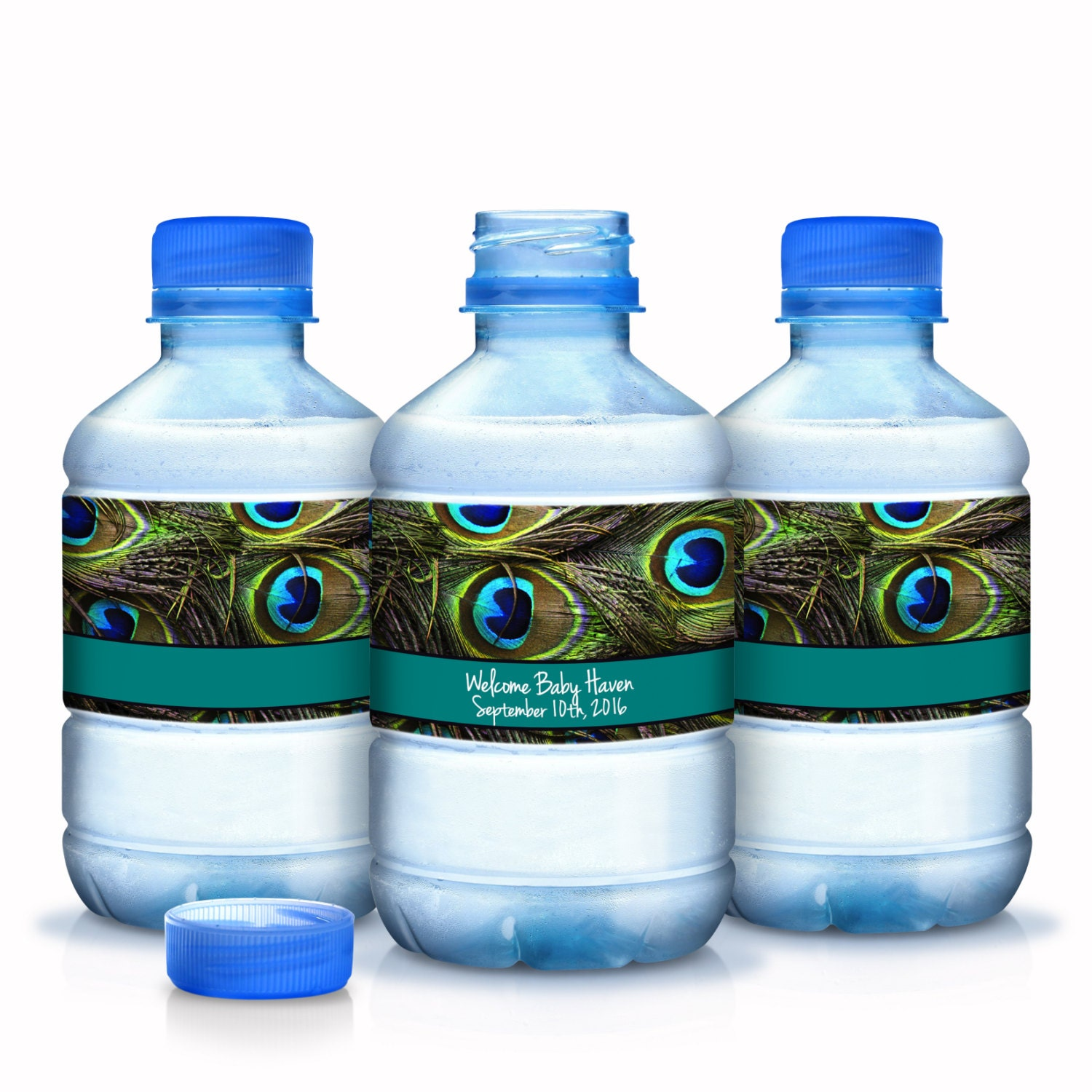 20 peacock feathers baby shower water bottle labels baby for Decor water bottle