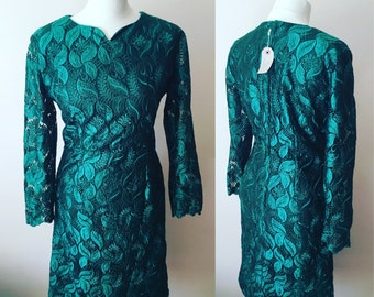 Vintage 1980's Emerald Green Lace Evening Dress - UK Size 12/US Size 8