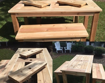 "Patio Picnic Table with Drink Coolers (seats 6-8 people 36.5""x75.75"") and ONE 2-3 seat bench (61"" long)  cedar or stained pine"