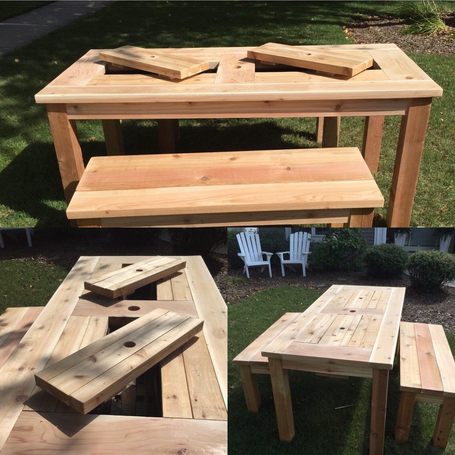 Patio picnic table with drink coolers seats 6 8 people for 108 table seats how many