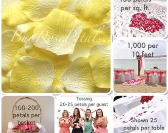 500 Sunshine Yellow Silk Rose Petals - Artificial Rose Petals for Weddings