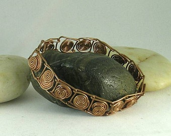 Layered Sacred Spirals - Wire Wrapped Copper Bracelet - Celtic - Roman