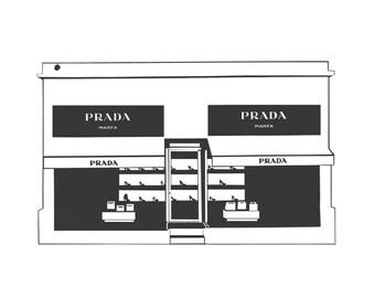 Prada Marfa, Prada Marfa Art Print, Prada Art Print, Square Print, Marfa Print, Contemporary Art Print