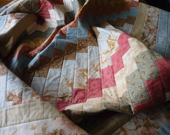Lap quilt...quilted throw...couch quilt...bed quilt...home decor...pink brown aqua quilt...gift item...travel quilt...
