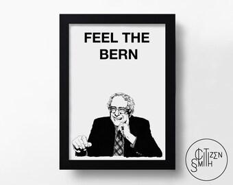 BERNIE SANDERS - Special Edition - Feel The Bern - Black & White - Hand-Drawn Political Democrat Art Print