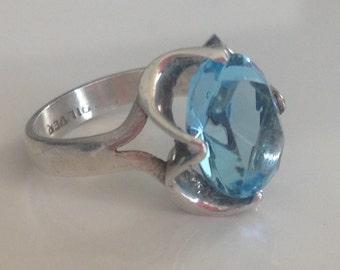 Vintage Aquamarine Sterling Silver Ring