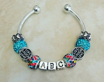 Personalized Initials Custom Letters Rhinestone Charms Silver Plated Bangle Bracelet 7.5 Inches