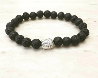 Lava Rock Buddha Charm Silver Plated Elastic Bracelet 8 Inches