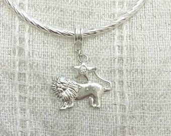 Leo Lion Rhinestone Charm Silver Plated Lined Bangle Bracelet 7.5 Inches