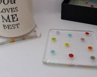 Fused glass coasters. Spotty glass coasters. Polka dot coasters.
