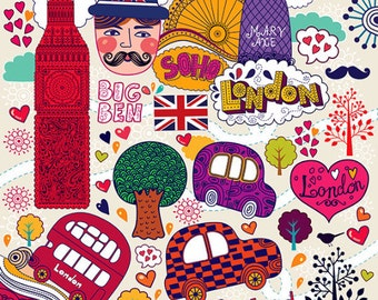 Colored symbols of LONDON POSTER in childish style . Fine art PRINT. Print for living room or kids room.