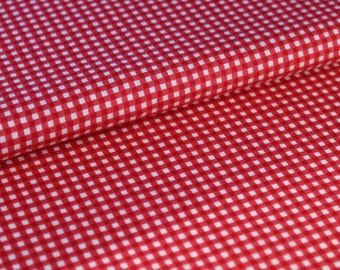 Small Print Red Gingham Cotton Fabric, Dressmaking and Quilting Fabric - Fat Quarter