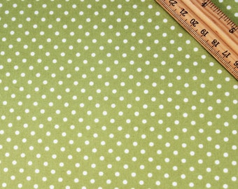 3mm White Polka Dots on Green Cotton Fabric, Quilting and Patchwork Fabric