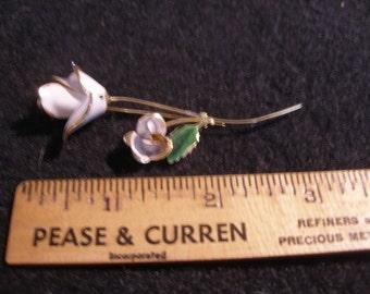 White Enamel Roses Brooch(584)