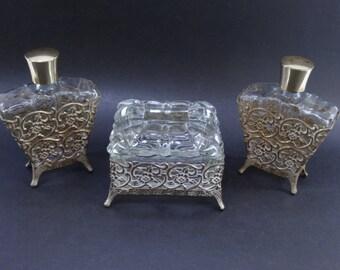 Vanity Set, Gold Vanity Set, Vanity Decor, Perfume Bottle, Gold Perfume Bottle, Trinket Box, Gold Trinket Box, Ormolu, Ormolu Set, Vanity