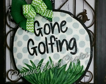 Golf Ball Burlap Door Hanger Decoration and Wreath Replacement