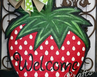 Strawberry Burlap Door Hanger Decoration and Wreath Replacement