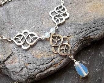 Celtic Necklace, Opalite Necklace, Wedding Necklace, Bridesmaids Jewellery, Bridal, Silver Celtic Knot Jewellery, Renaissance, Medieval