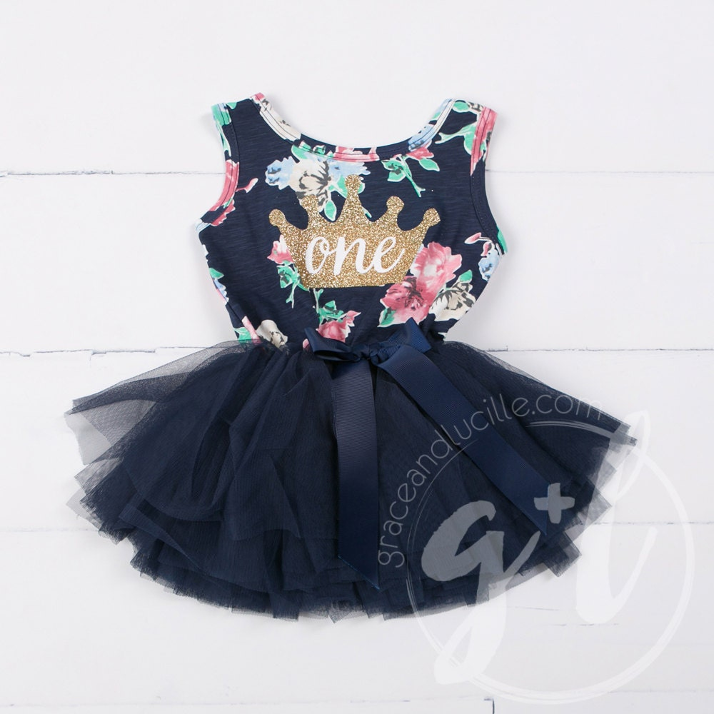 Birthday Party Outfit: First Birthday Floral Outfit Dress With Crown And Navy Blue