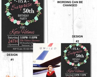 60 birthday invitation for her, adult birthday invite, adult surprise birthday invitation, adult surprise birthday invitation printable