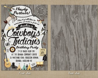 Cowboys and Indians / Wild West Party Invitation - Customized Digital files