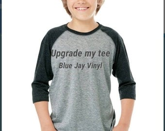 Upgrade to Youth or Adult 3/4 long sleeve baseball style jersey  ADD ON listing