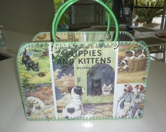 Retro style bag with vintage images of cute dogs and puppies
