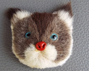 Vintage Fur  Kitty Cat Kitten Brooch