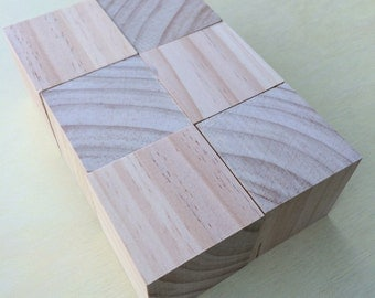 6 x Large wooden Montessori blocks - 70x70mm Cubes