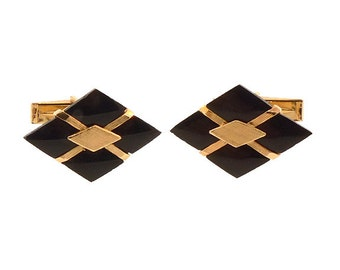 14K Yellow Gold & Onyx Cufflinks