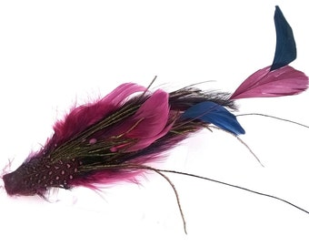 Purple Feather Fascinator Hairclip with Purple/Blue/Black/Green Feathers, SALE