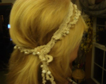 Crochet headband with antique beads