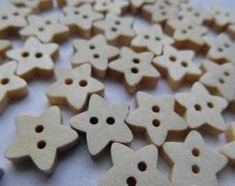 10 little flower stars, wooden flowers, sewing, scrapbooking