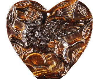 Carved Winged Dog Cameo Pendant - Beautiful Art Focal piece Natural Tigers Eye