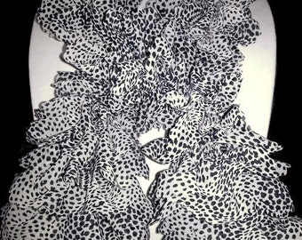 Sassy White Cheetah Ruffle Scarf Wear to work or a night out!