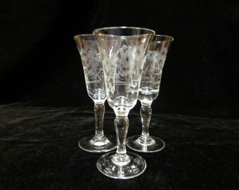 Set of Three Etched Cordial Glasses