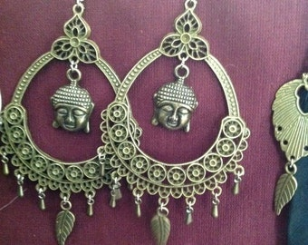 Buddha brass earrings goa festival gypsy