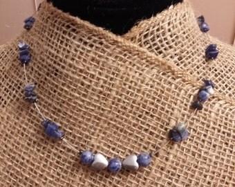 artisan jewelry,stone jewelry,sodalite necklace,blue stone earrings,hematite earrings,heart earrings,heart necklace,boho chic