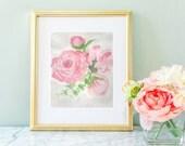Peony nursery, peony watercolor, girl nursery, nursery wall art,  pink peony, peonies, pink flowers, flower print set, 8 x 10