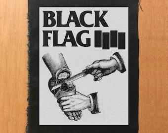 Black Flag old flyer illustration patch, punk patch, punk patches