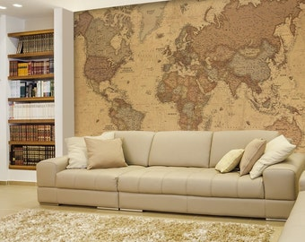 Antique Monochrome Vintage Political World Map Wallpaper - Wall Mural- 66x96