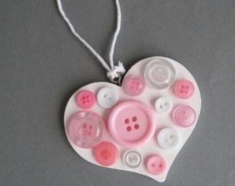 Button Wooden Hanging Heart
