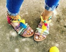 On Sale Pom Pom Sandals, Greek Leather Sandals, Boho Gladiator sandals, Summer sandals, Bohemian sandals