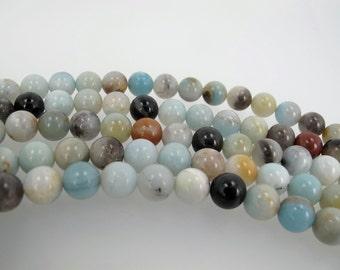 Multicolor Amazonite Round beads. 8mm Amazonite beads. Semi-Precious gemstone.