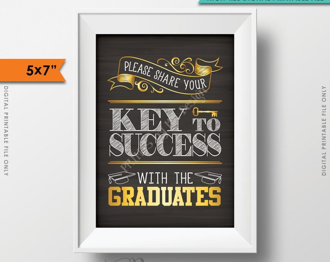 "Please share your Key to Success with the Graduates Printable Chalkboard Sign, Advice for Grads 5x7"" Instant Download Digital Printable File"