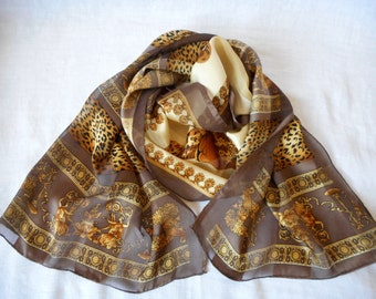 Silk scarf,  Animals and  Ancient Greek Motifs,  Print Scarf, Long Silk Scarf, Vintage Scarf