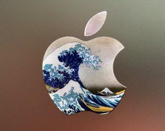 Macbook Logo Decal, Decal Apple Logo, Vinyl Decal Macbook, Great Wave Decal, Macbook Pro Decal, Macbook Air Decal, Macbook Air, GREAT WAVE