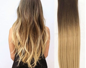"19"" Full Head  Clip-in Dip Dye Ombre 70% Real Human Hair Extensions Dark Brown to Sandy Blonde"