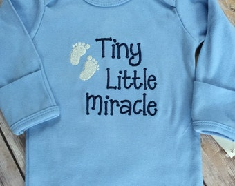 Little Miracle embroidered infant gown -baby boy infant gown -baby girl infant gown -going home outfit -baby shower gift -custom onesie