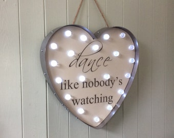 Light Up Heart LED Battery Operated Dance Like Nobody's Watching